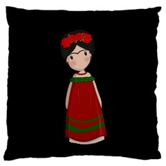 Frida Kahlo Doll Large Cushion Case (one Side) by Valentinaart