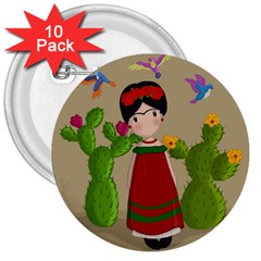 Frida Kahlo Doll 3  Buttons (10 Pack)  by Valentinaart