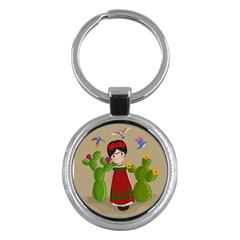 Frida Kahlo Doll Key Chains (round)  by Valentinaart