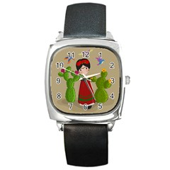 Frida Kahlo Doll Square Metal Watch by Valentinaart