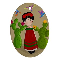 Frida Kahlo Doll Oval Ornament (two Sides) by Valentinaart