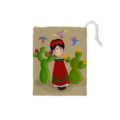 Frida Kahlo Doll Drawstring Pouches (small)  by Valentinaart