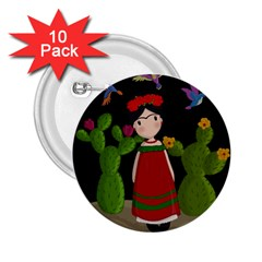 Frida Kahlo Doll 2 25  Buttons (10 Pack)  by Valentinaart