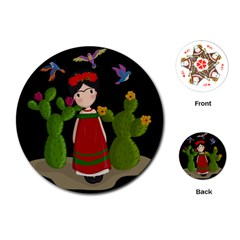 Frida Kahlo Doll Playing Cards (round)  by Valentinaart
