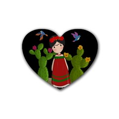 Frida Kahlo Doll Heart Coaster (4 Pack)  by Valentinaart
