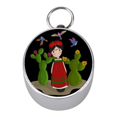 Frida Kahlo Doll Mini Silver Compasses by Valentinaart