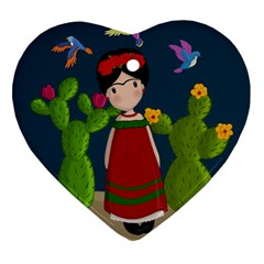 Frida Kahlo Doll Heart Ornament (two Sides) by Valentinaart