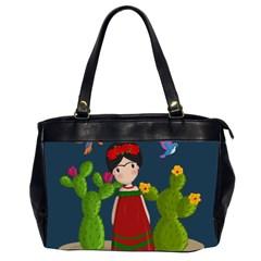 Frida Kahlo Doll Office Handbags (2 Sides)  by Valentinaart