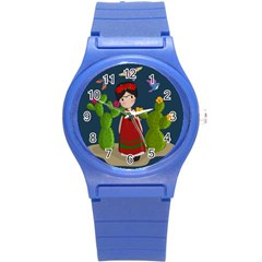 Frida Kahlo Doll Round Plastic Sport Watch (s) by Valentinaart