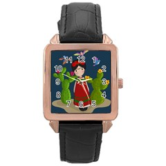 Frida Kahlo Doll Rose Gold Leather Watch  by Valentinaart