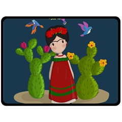 Frida Kahlo Doll Double Sided Fleece Blanket (large)  by Valentinaart