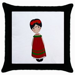 Frida Kahlo Doll Throw Pillow Case (black) by Valentinaart
