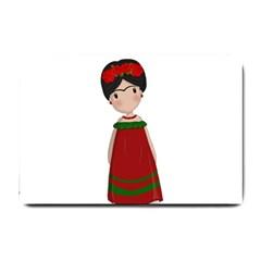 Frida Kahlo Doll Small Doormat  by Valentinaart
