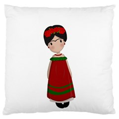 Frida Kahlo Doll Large Flano Cushion Case (one Side) by Valentinaart