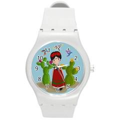 Frida Kahlo Doll Round Plastic Sport Watch (m) by Valentinaart