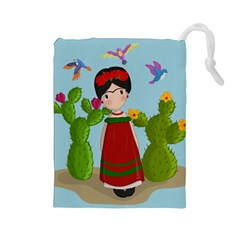 Frida Kahlo Doll Drawstring Pouches (large)  by Valentinaart