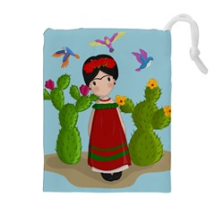 Frida Kahlo Doll Drawstring Pouches (extra Large) by Valentinaart