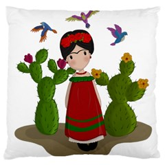 Frida Kahlo Doll Large Cushion Case (two Sides) by Valentinaart