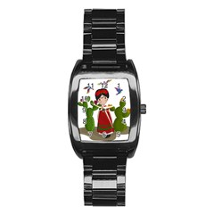 Frida Kahlo Doll Stainless Steel Barrel Watch by Valentinaart