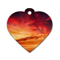 Desert Sand Dune Landscape Nature Dog Tag Heart (one Side)