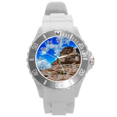 Mountain Canyon Landscape Nature Round Plastic Sport Watch (l) by Celenk