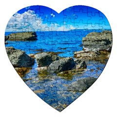 Shoreline Sea Coast Beach Ocean Jigsaw Puzzle (heart) by Celenk