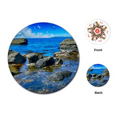 Shoreline Sea Coast Beach Ocean Playing Cards (round)  by Celenk