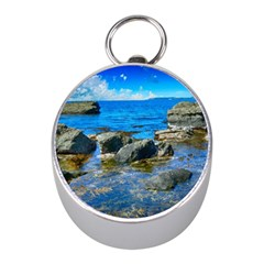 Shoreline Sea Coast Beach Ocean Mini Silver Compasses