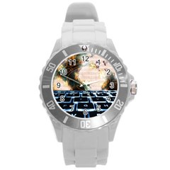 Ransomware Cyber Crime Security Round Plastic Sport Watch (l) by Celenk