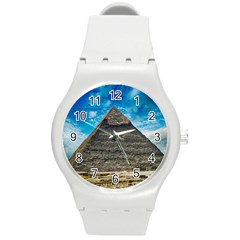 Pyramid Egypt Ancient Giza Round Plastic Sport Watch (m) by Celenk