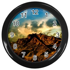Mountain Sky Landscape Nature Wall Clocks (black) by Celenk