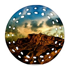 Mountain Sky Landscape Nature Round Filigree Ornament (two Sides) by Celenk
