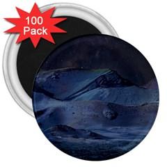 Landscape Night Lunar Sky Scene 3  Magnets (100 Pack) by Celenk