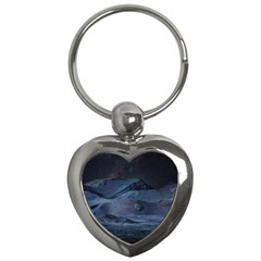 Landscape Night Lunar Sky Scene Key Chains (heart)  by Celenk