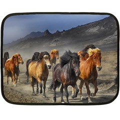 Horses Stampede Nature Running Fleece Blanket (mini) by Celenk