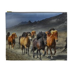 Horses Stampede Nature Running Cosmetic Bag (xl) by Celenk