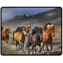 Horses Stampede Nature Running Double Sided Fleece Blanket (medium)  by Celenk