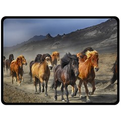 Horses Stampede Nature Running Double Sided Fleece Blanket (large)  by Celenk