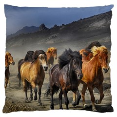 Horses Stampede Nature Running Large Flano Cushion Case (two Sides) by Celenk