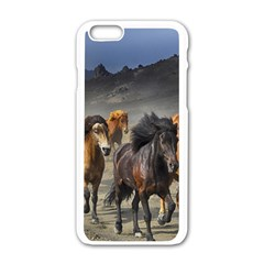 Horses Stampede Nature Running Apple Iphone 6/6s White Enamel Case by Celenk