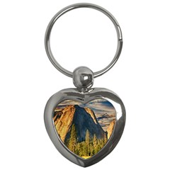 Mountains Landscape Rock Forest Key Chains (heart)  by Celenk