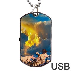 Mountains Clouds Landscape Scenic Dog Tag Usb Flash (one Side) by Celenk