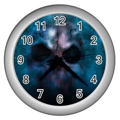 Skull Horror Halloween Death Dead Wall Clocks (silver)  by Celenk