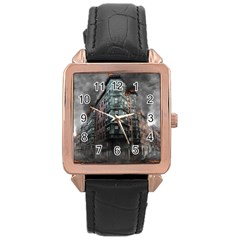 War Destruction Armageddon Disaster Rose Gold Leather Watch