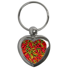 Chilli Pepper Spicy Hot Red Spice Key Chains (heart)  by Celenk