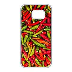 Chilli Pepper Spicy Hot Red Spice Samsung Galaxy S7 Edge White Seamless Case