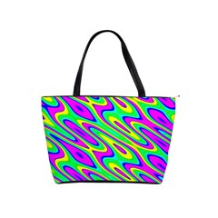 Lilac Yellow Wave Abstract Pattern Shoulder Handbags by Celenk