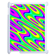 Lilac Yellow Wave Abstract Pattern Apple Ipad 2 Case (white) by Celenk