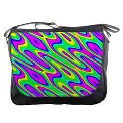 Lilac Yellow Wave Abstract Pattern Messenger Bags by Celenk