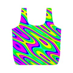 Lilac Yellow Wave Abstract Pattern Full Print Recycle Bags (m)  by Celenk